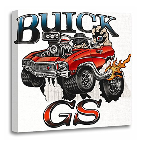 TORASS Canvas Wall Art Print 1969 68 69 Buick Gs in Red Rat Fink 1968 Artwork for Home Decor 20