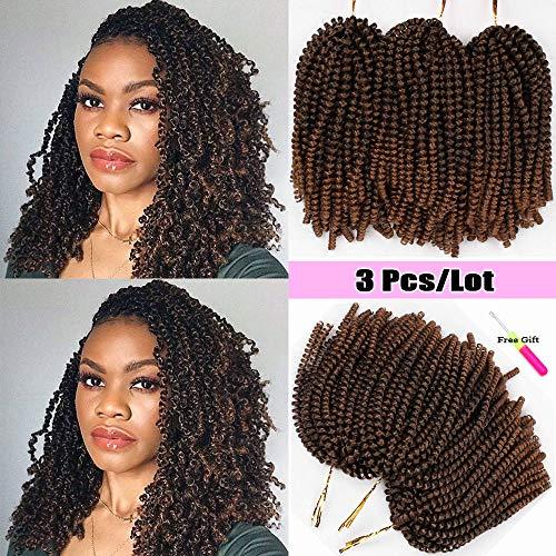 3Pack Spring Twist Crochet Braids Ombre Color Spring Braiding Hair Synthetic Kanekalon Twist Crochet Hair Extensions (1B-30#)