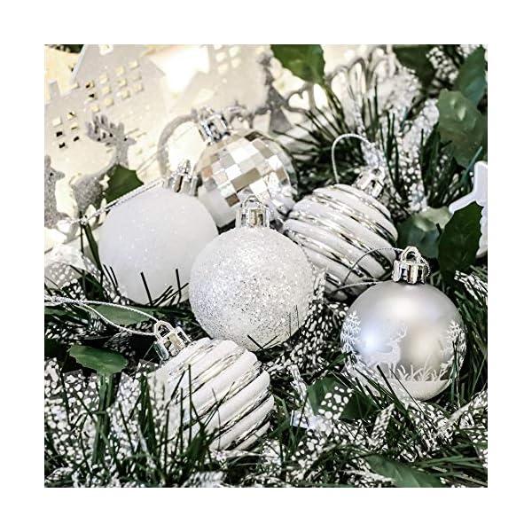 Victor's Workshop Addobbi Natalizi 35 Pezzi 5cm Palle di Natale, Frozen Winter Silver e White Shatterproof Christmas Ball Ornaments Decoration for Christmas Tree Decor 6 spesavip