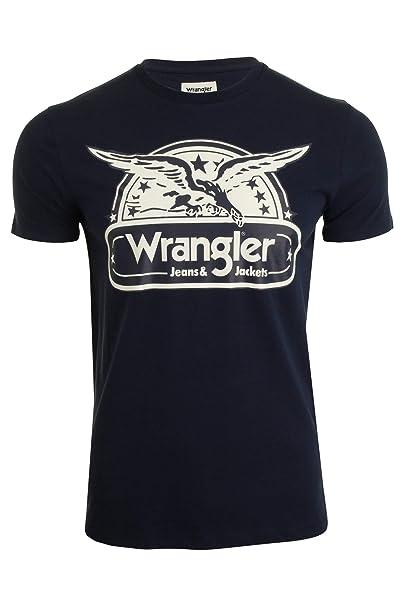 Wrangler - Camiseta - Liso - Redondo - Manga Corta - para Hombre Azul Azul Marino