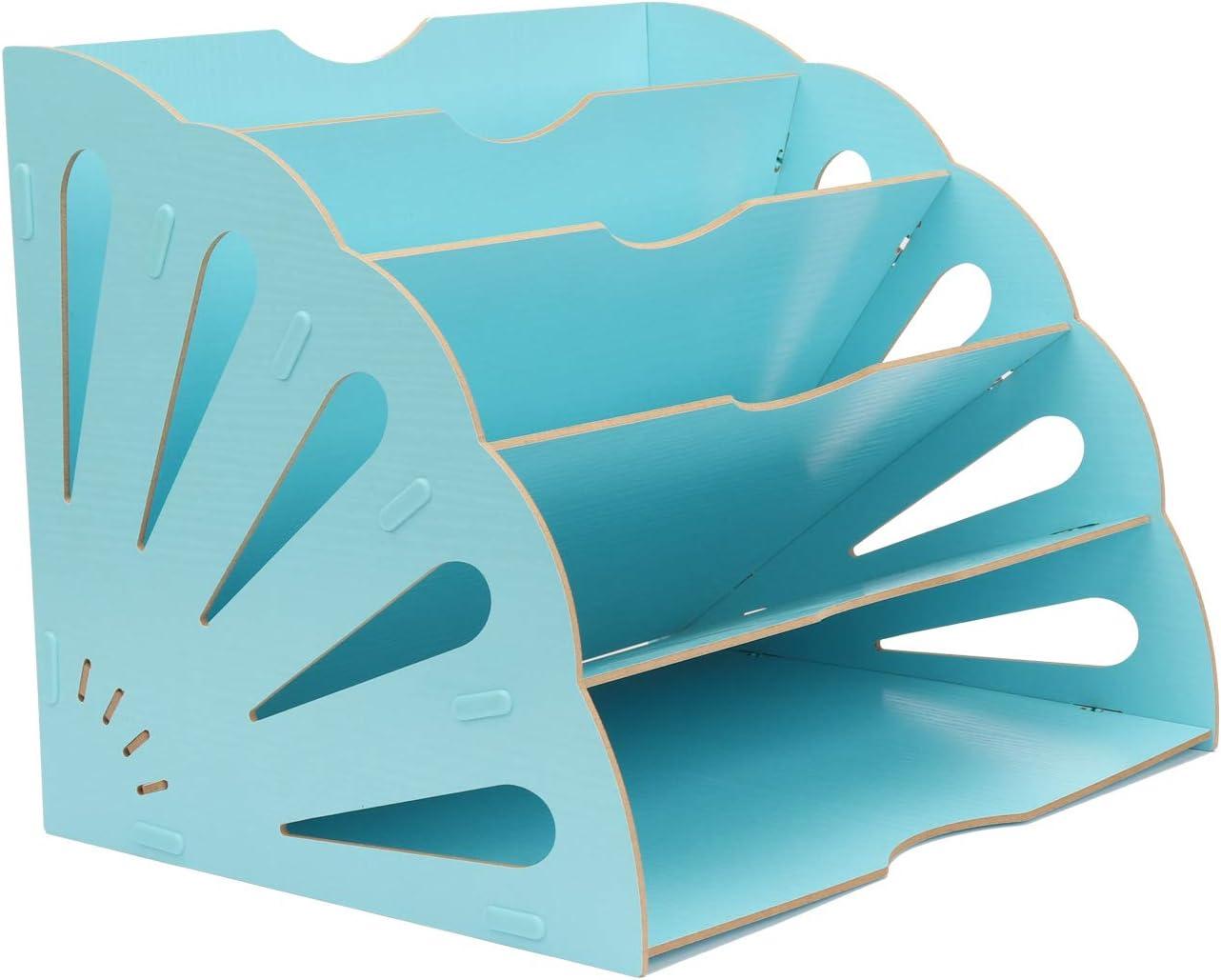 Office 5 Sections Desktop Inclined File Document Sorter Organizer Desk Organizer for Home Office Students DIY Organization, Buckle Design Fan-Shaped Wooden Assembly Folders, Light Blue