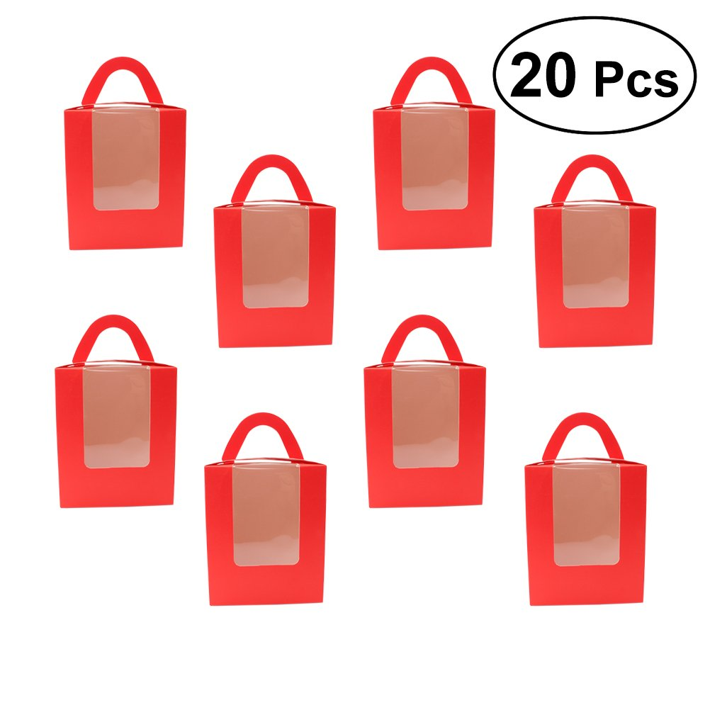 BESTONZON 20Pcs Single Cupcake Boxes with Window Insert and Handle for Wedding Party Favor Decoration (Red)