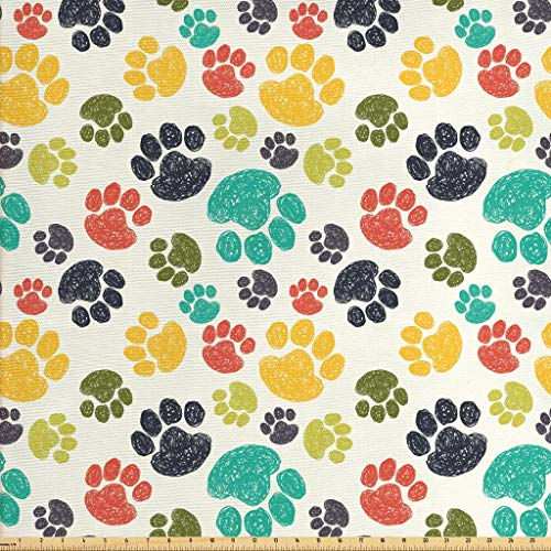 Ambesonne Dog Lover Fabric by The Yard, Hand Drawn Paw Print Doodles Circular Pattern Children Drawing Style Animal, Decorative Fabric for Upholstery and Home Accents, 1 Yard, Multicolor