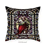 VROSELV Custom Cotton Linen Pillowcase Sacred Heart of Jesus Pictures for Living Room Decoration Catholic Gifts Believe Art Christian Decor Church Cathedral Window View Silky Satin Red Black 12''x12''