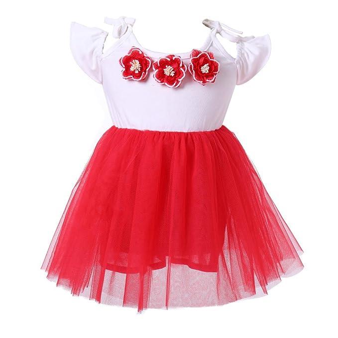 Brightup 1-5 años Niña Vestido de fiesta manga corta de flor roja, vestido de tul de verano: Amazon.es: Ropa y accesorios