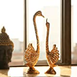 JaipurCrafts Pair of Kissing Duck Showpiece (12 in Feathers)