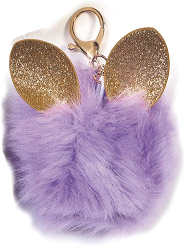 iscream Glitter Ears Furry Pom-Pom Decorative Purse and Backpack Clip Keychain Charm