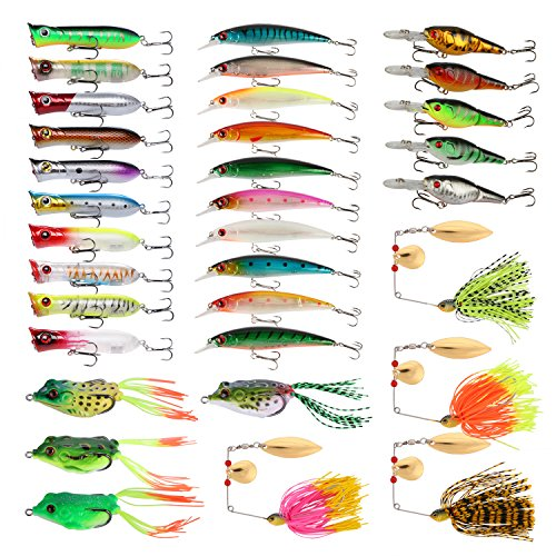 Goture Fishing Lure Set Soft and Hard Lure Including Spinner Baits Minnow Frog Popper Spoon Jigs Jointed Swimbaits for Freshwater Saltwater (Pack of 33)