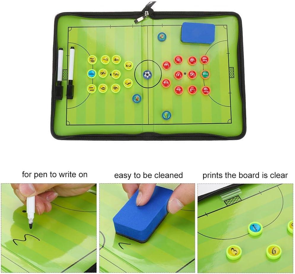 Dilwe Strategy Board Folding Magnetic Soccer Clip Board Kit Including Pen Magnets Eraser for Basketball Football Training
