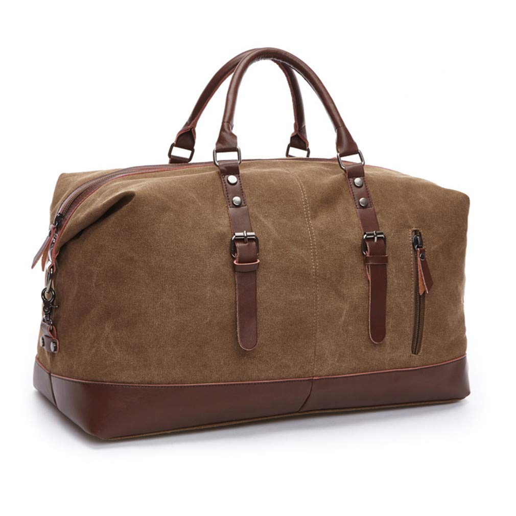 Canvas Leather Men Travel Bags Carry On Luggage Bag Handbag Green