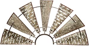 Wisechoice Distressed Half Windmill Metal Wall Decor for Kitchen and Themed Rooms Display, 15.5 Inch L x 30 Inch W