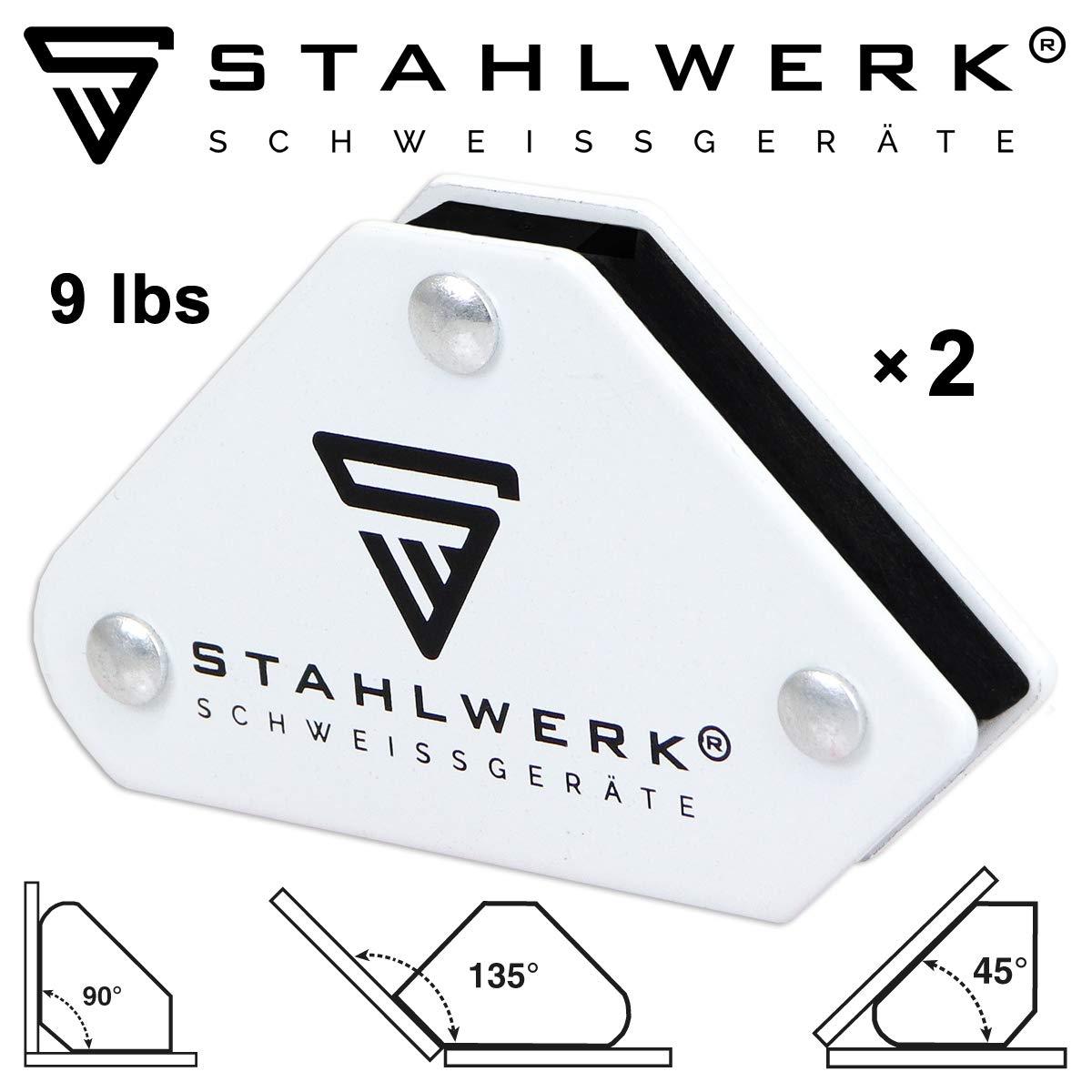 StahlWERK Lot de 2 aimants de soudage magn/étiques et pinces /à terre pour souder 45/° x 90/° x 135/° Blanc 4 kg
