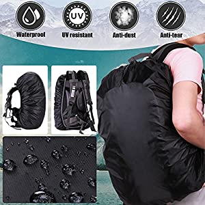 IDOMIK Backpack Rain Cover Waterproof Pack Covers Large Small Tear Resistance Adjustable Elastic Raincover Camera Backpack Bag Cover Accessories