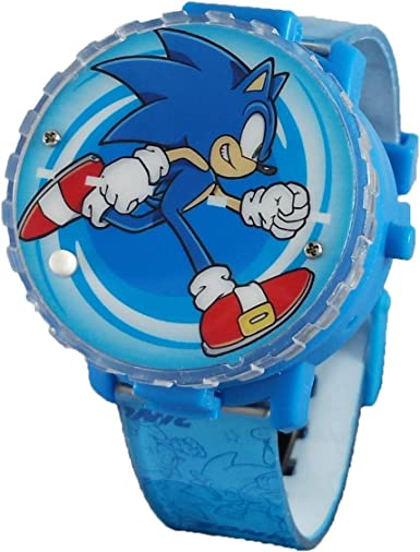 Amazon Com Sonic The Hedgehog Light Up Spinner Lcd Watch Blue Watches