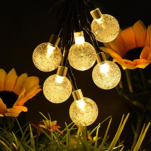 - kalokelvin Waterproof Solar String Lights Outdoor 30 LED 21FT 8-in-1 Mode for Christmas/ Home/ Garden/ Yard/ Porch/ Tree/ Party/ Holiday Decoration-Crystal Bubble Globe Warm White