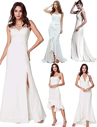 819c703f6ea2 Ever Pretty Women's Floor Length Lace Up with Embroidery and Beads Long  Bridesmaid Dresses White White