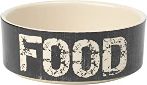 PetRageous 2-Cup Food Vintage Pet Bowl, 5-Inch, Black/Natural