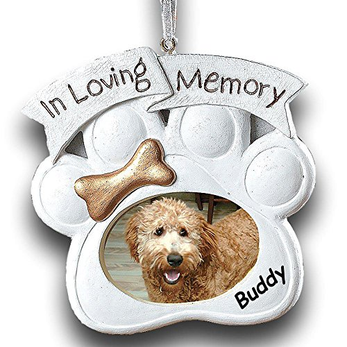 Personalized Loving Memory Dog Memorial Christmas Ornament Photo Frame With Your Pet Name (Dog Personalized Ornament Christmas)