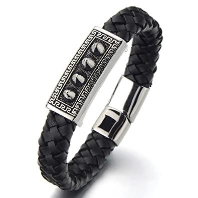 a71afdc097b9e Image Unavailable. Image not available for. Color  COOLSTEELANDBEYOND Rock Punk  Stainless Steel ID Identification Bracelet Black Braided Leather ...