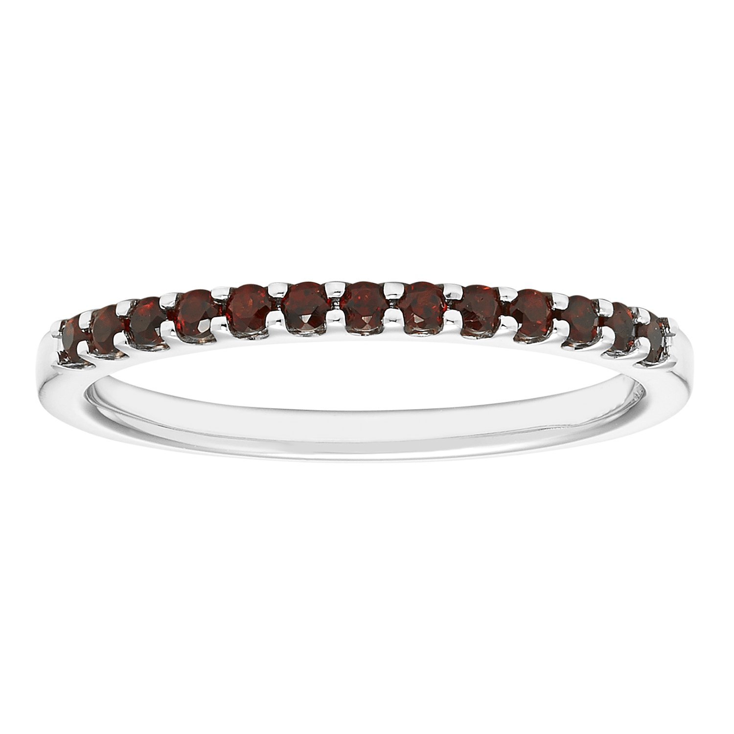 14K White Gold 1.04 Tgw. Garnet January Birthstone Stackable 2MM Band Ring by Boston Bay Diamonds