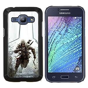 Assassin Run- Metal de aluminio y de plástico duro Caja del teléfono - Negro - Samsung Galaxy J1 / J100