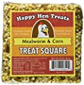 "Happy Hen Treats 6.5 oz. Square, Mealworm and Corn, 4.25"" by 4.25"" by 1.25"" by Randall Burkey Company"