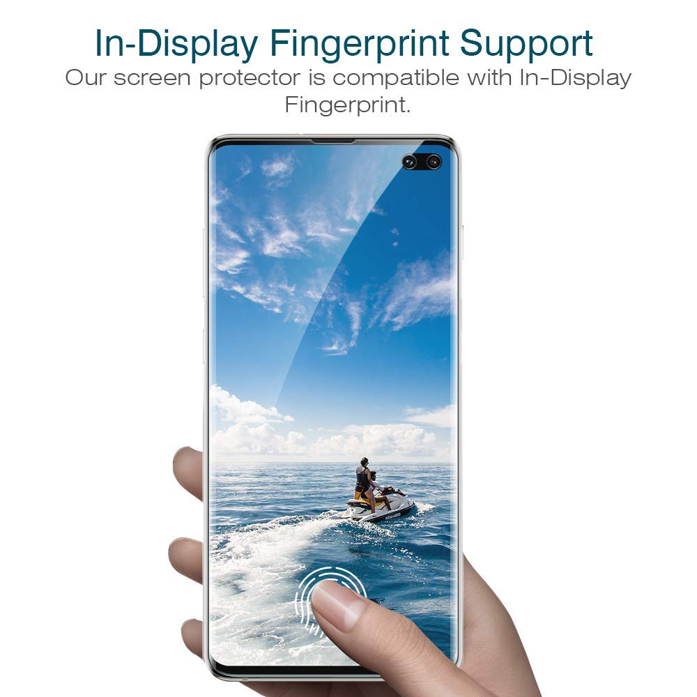 HD Clear Anti-Scratch with Lifetime Replacement Warranty 3pack Screen Protector for Samsung Galaxy S10 Plus, Ultrasonic Fingerprint Compatible LK Flexible Film