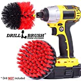 2 Piece Drill Brush Red Stiff Bristle Rotary Cleaning Drill bit attachment brushes for Cleaning Siding, Brick, Stone, Fireplaces, Decks, Gutters, and More by Drillbrush