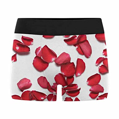 4bdc3d4ae3346 INTERESTPRINT Men s All-Over Print Boxer Briefs Beautiful Red Roses Petals  on White