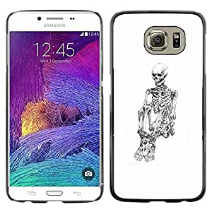 Plastic Shell Protective Case Cover || Samsung Galaxy S6 SM-G920 || Skull Skeleton Depressed White Black @XPTECH