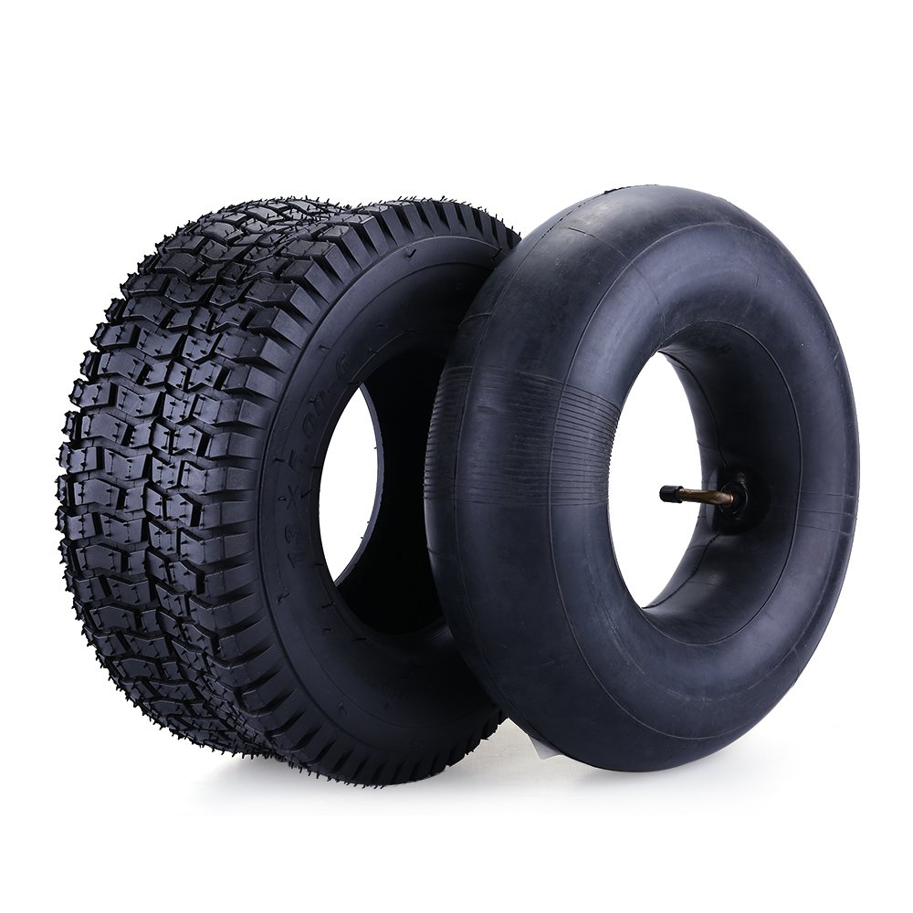 13x5.00-6 Tire & Inner Tube for Razor Dirt Quad and Go Kart, Dirt Bike, ATV, Yard Tractors, Lawn Mower, Wagons, Hand Trucks, with Bent Metal Valve Stem by LotFancy