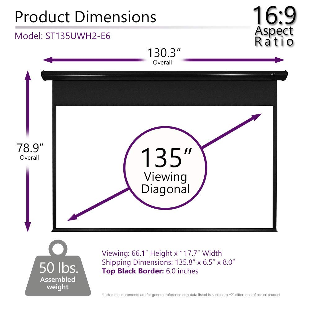 Home Theater 8K//4K Ultra HD Ready Projection Elite Screens Spectrum Electric Motorized Projector Screen with Multi Aspect Ratio Function Max Size 110-inch Diag 16:9 to 104-inch Diag 2.35:1 ELECTRIC110H