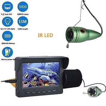 "ENNIO cámara de pesca submarina (HD 1000TVL, 4.3"" LCD Monitor, 15M Bajo"