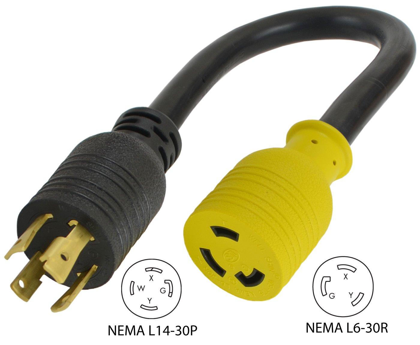 Conntek PL1430L630 Generator Adapter 30-Amp 125/250-volt L14-30 4-Prong Locking Plug to 30-Amp 250-volt L6-30R Female by Conntek (Image #2)