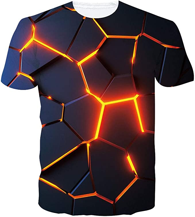 Uomo 3D Mano Stampa T Shirt Casual Estivo Divertente Manica Corta Grafico T Top