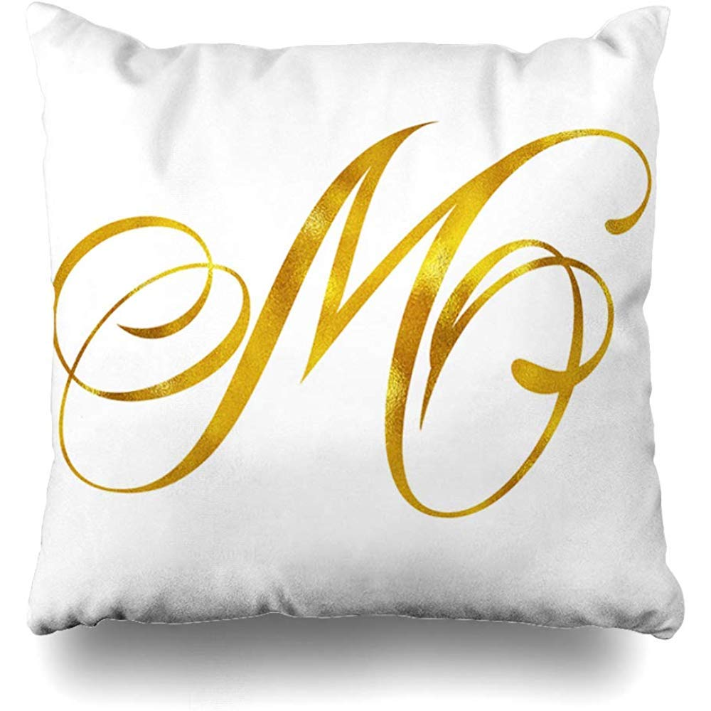 Throw Pillow Cover Square 18x18 Inch Script Monogram Gold Foil Initial Letter Quote White Cushion Case Home Decor Pillowcase