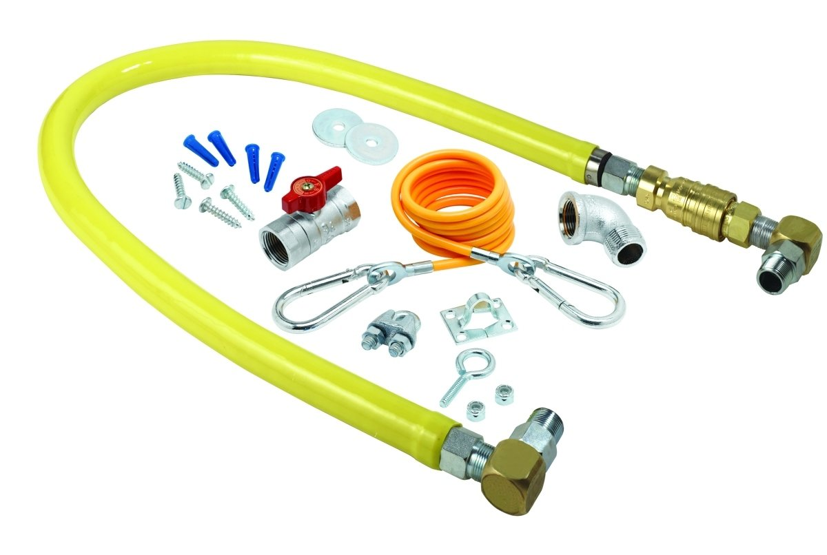 T&S Brass HG-4C-48SK Gas Hose with Quick Disconnect, 1/2-Inch Npt, 48-Inch Long, Installation Kit and Swivelink Fittings by T&S Brass