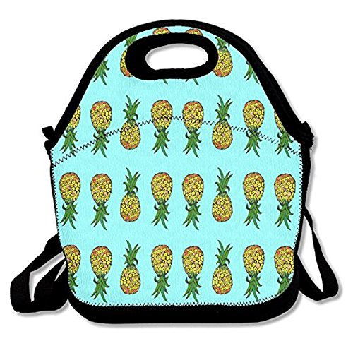 Amazon.com: Tiny Pineapples On Turquoise Lunch Tote ...