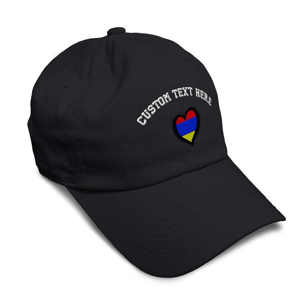 Custom Soft Baseball Cap Armenia Flag Heart-Shaped Embroidery Twill Cotton