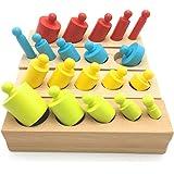 モンテッソーリ 知育玩具 シリンダー ブロック 4本 セット 円柱さし 木製パズル モンテッソーリ 教具 教材 (多色)