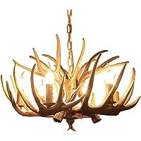 Resin Deer Antler Resin Antler Chandelier Pendant Light Chandelier Hanging Lamp Decor, Deer Horn 4 Light Vintage Style…
