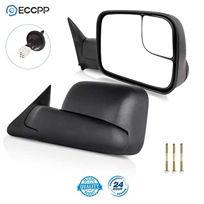 ECCPP Towing Mirrors W/Brackets Replacement fit for 1998 1999 2000 2001 Dodge Ram 1500 2500 3500 Truck Power Heated Black Manual Side View Mirrors: Automotive