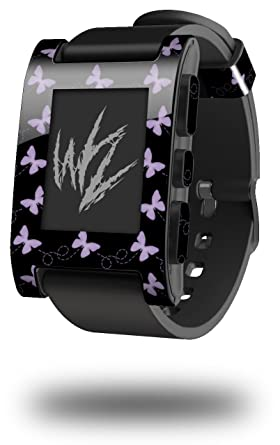 Pastel Butterflies Purple on Black - Decal Style Skin fits original Pebble Smart Watch (WATCH SOLD SEPARATELY)