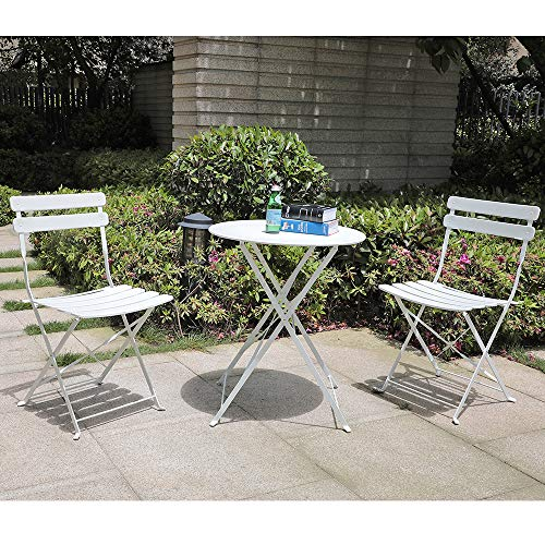 (Orange-Casual 3-Piece Folding Outdoor Bistro Sets, Portable Steel Patio Furniture Sets, Garden Table and Chairs, White)