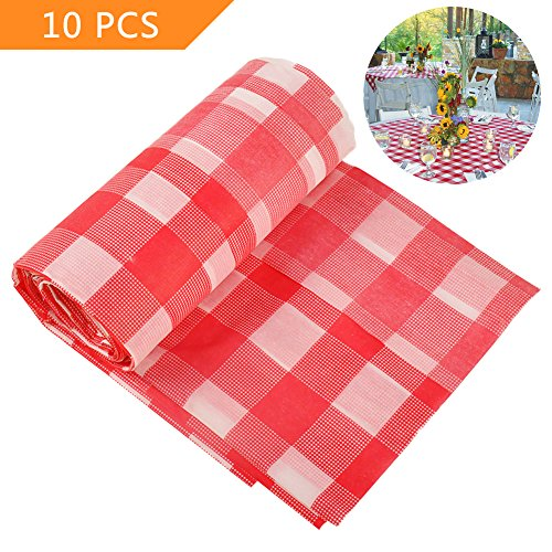 Red Checkered Tablecloth,10 Pack Plastic Table Cover Checkerboard Design Tablecloth Disposable Table Cover by Loves (Checkered Table Roll)