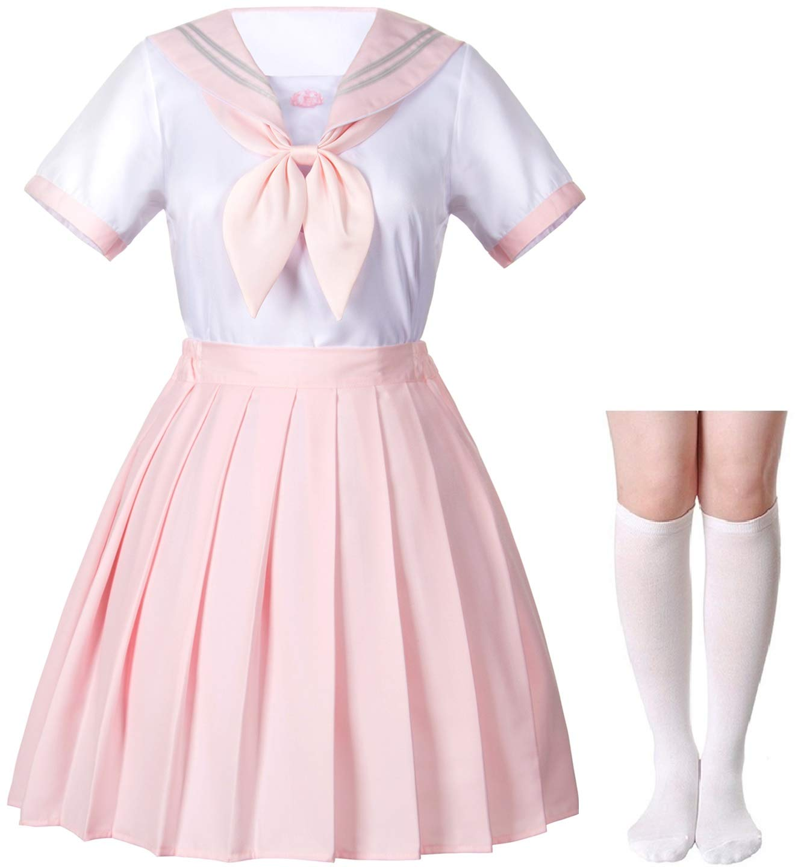 Classic Japanese Anime School Girls Pink Sailor Dress Shirts Uniform Cosplay Costumes with Socks Hairpin Set