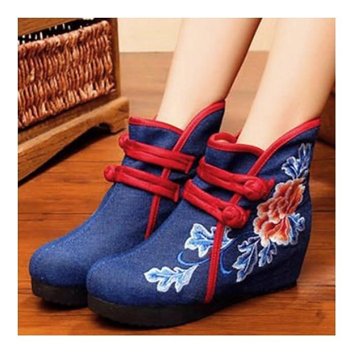 Botas Bordadas de Hojas Azul y Peonía Rojo 37 NVVSjxW