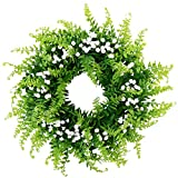 BabiesBreath Mixed Fern Wreath,Artificial Fern Base-UV Resistant Greenery Wreath with GypsophilaArtificialFlowers for Front Door, Wall Decor,14 inches