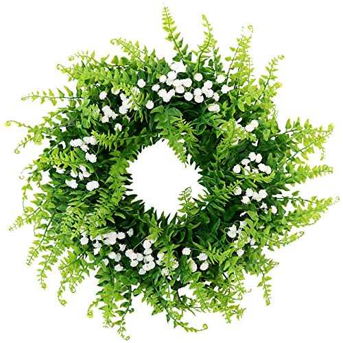 BabiesBreath Mixed Fern Wreath,Artificial Fern Base-UV Resistant Greenery Wreath with GypsophilaArtificialFlowers for Front Door, Wall Decor,14 inches (Door Wreath For Baby)