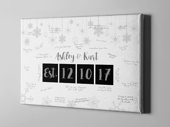 Amazon.com: SALE 50% Off Winter Canvas Guest Book, Winter Wedding ...
